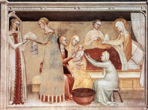 Birth of the Virgin by Giovanni da Milano. Apparently St. Anne had lots of attendants at Mary's birth.