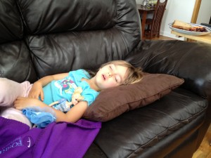 I know my daughter is really sick when she falls asleep in front of the TV.
